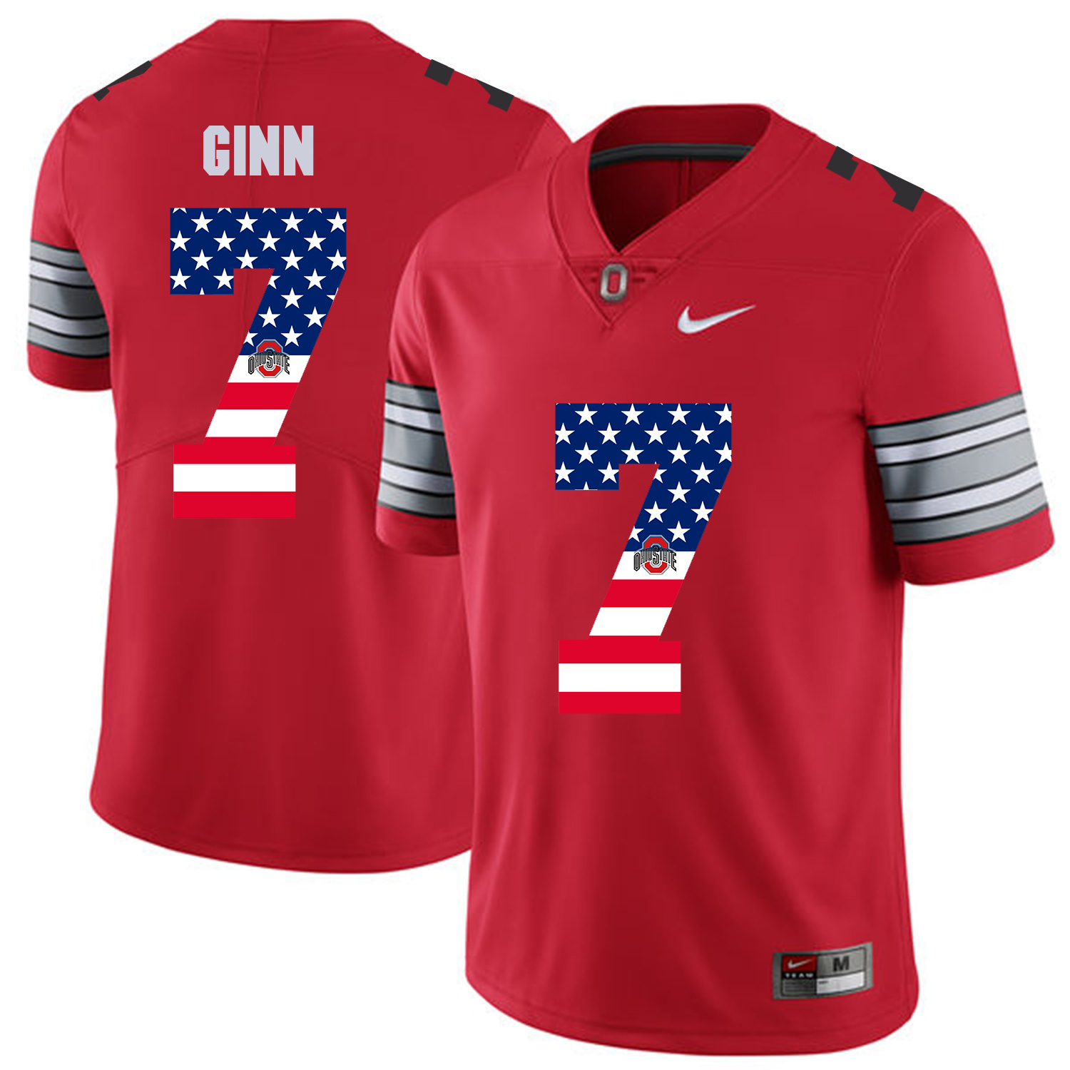 Men Ohio State 7 Ginn Red Flag Customized NCAA Jerseys