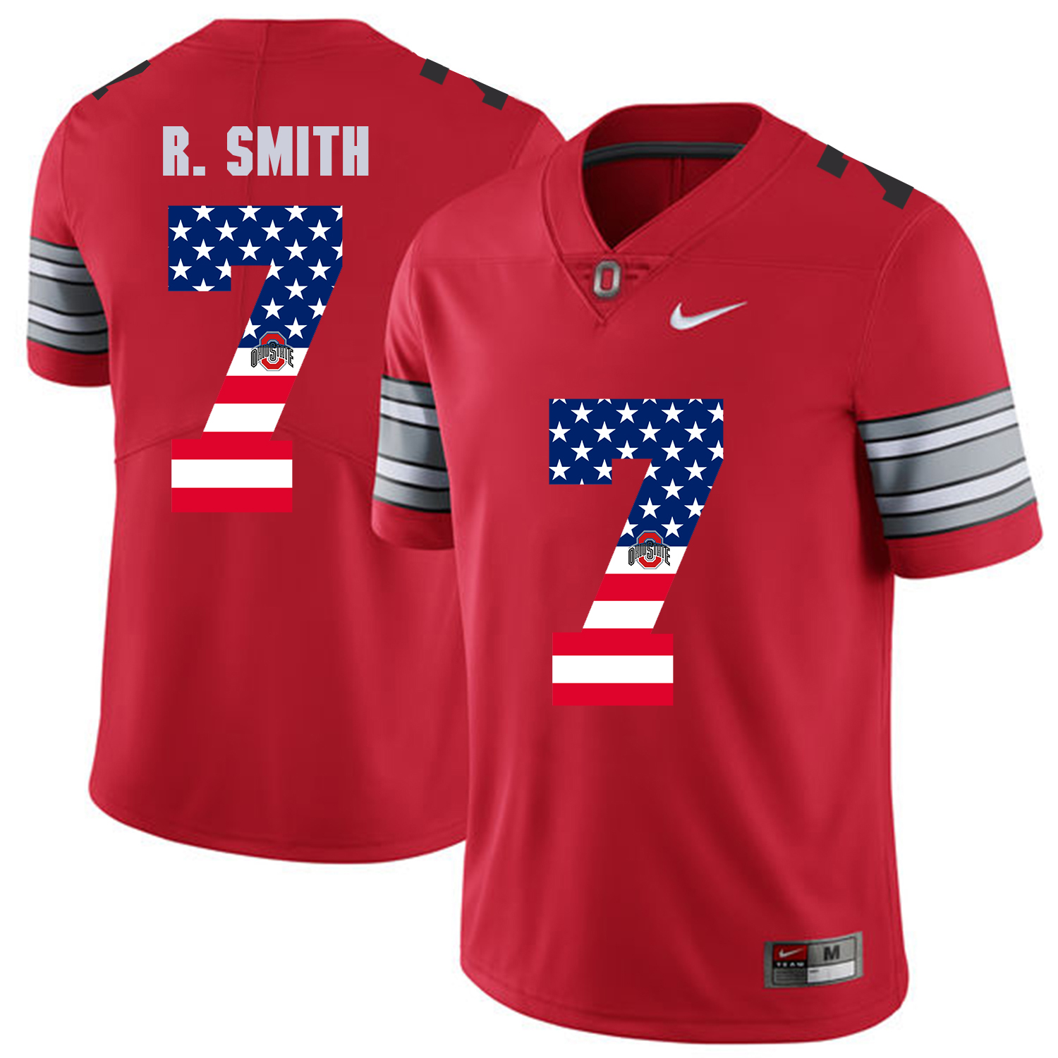 Men Ohio State 7 R.Smith Red Flag Customized NCAA Jerseys
