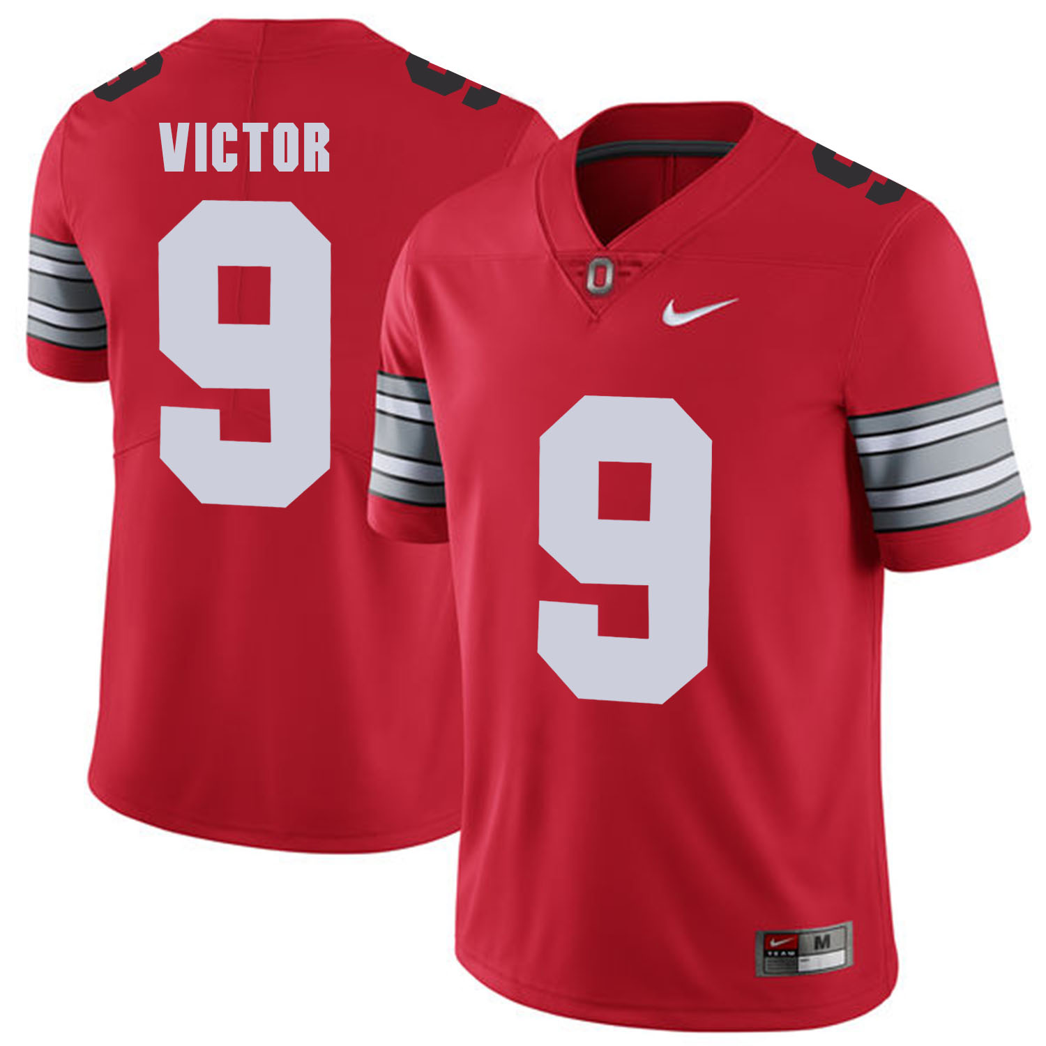 Men Ohio State 9 Victor Red Customized NCAA Jerseys
