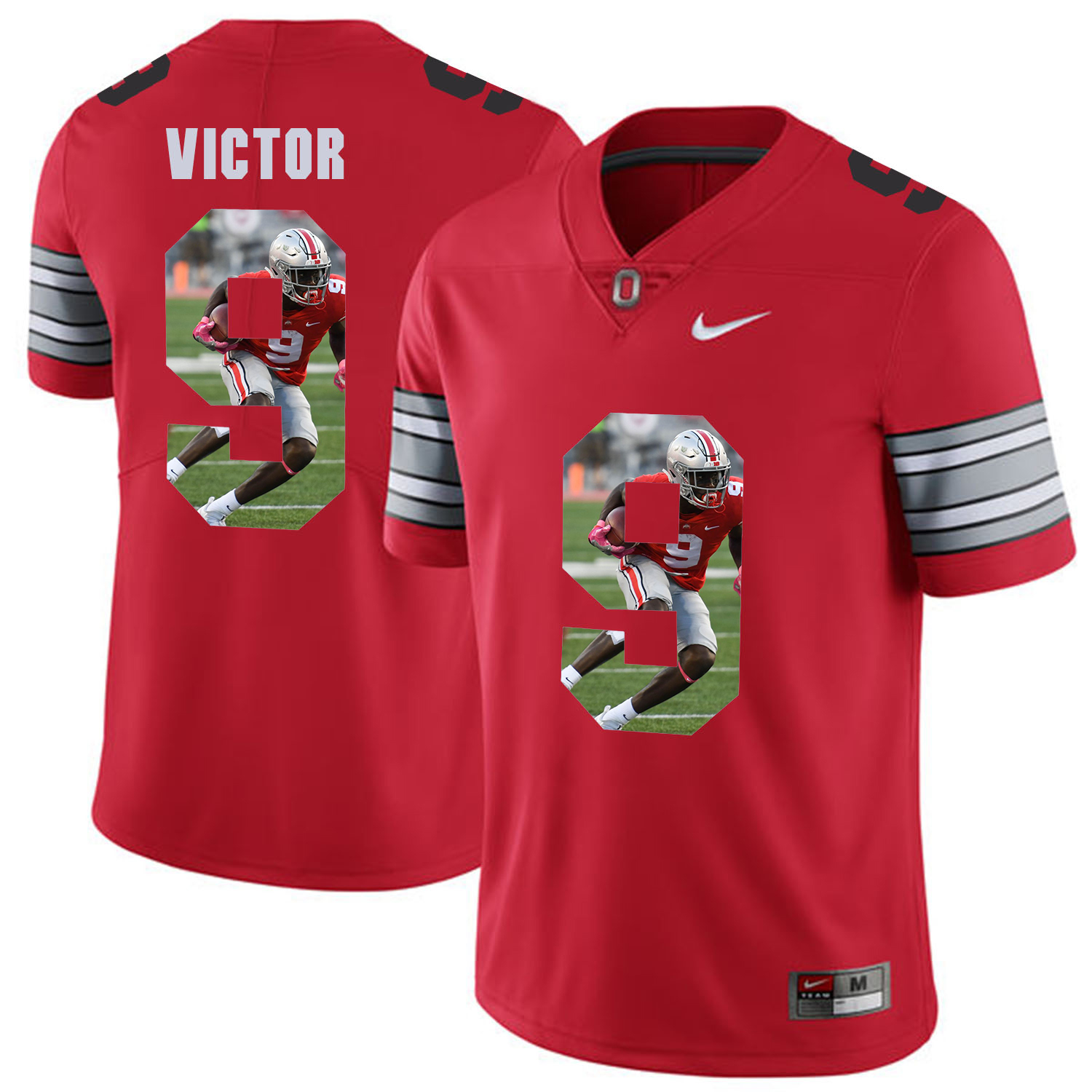 Men Ohio State 9 Victor Red Fashion Edition Customized NCAA Jerseys