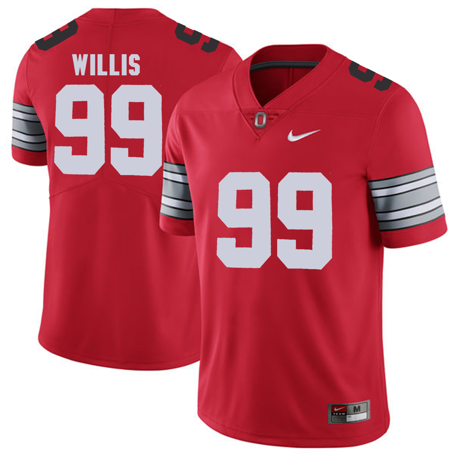 Men Ohio State 99 Willis Red Customized NCAA Jerseys