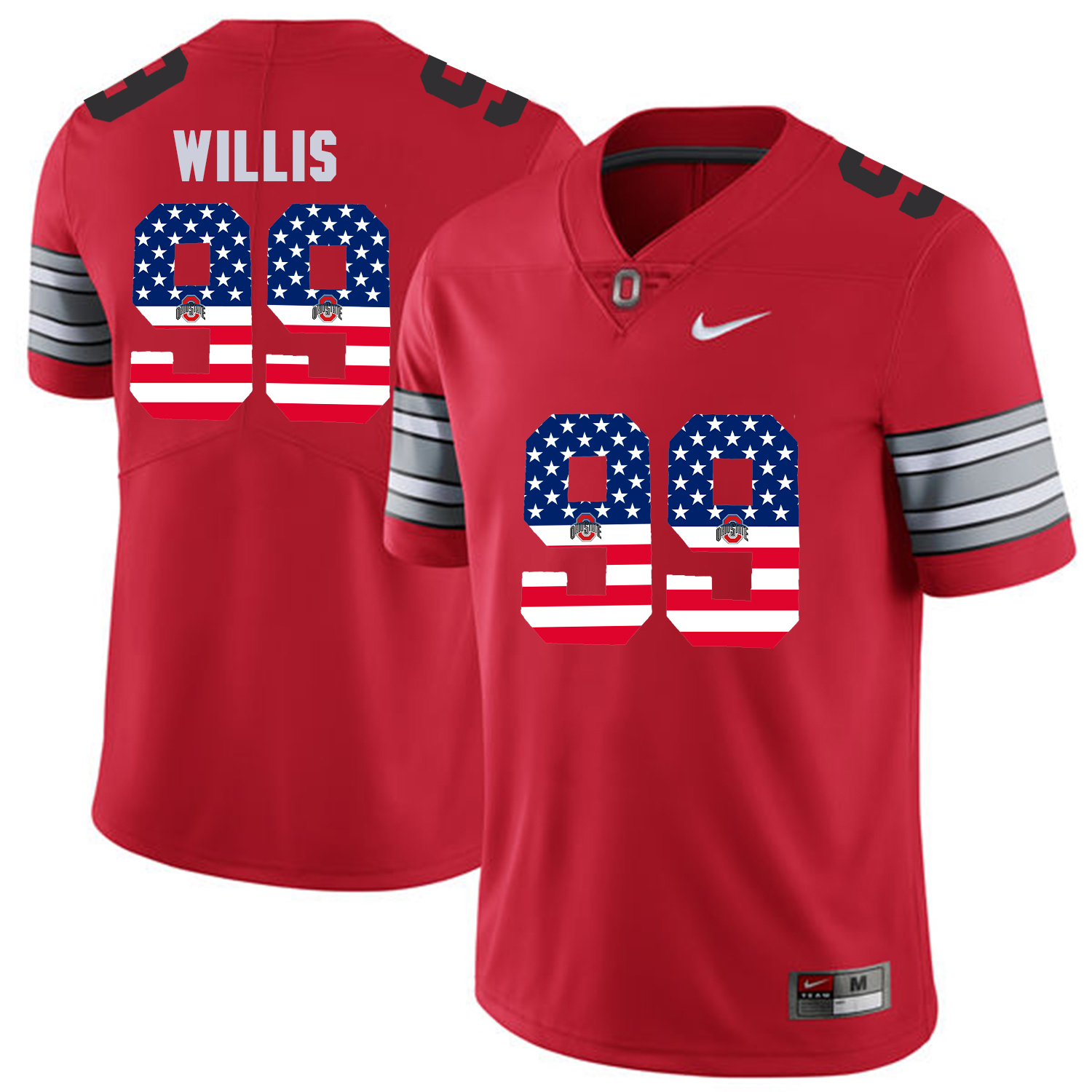 Men Ohio State 99 Willis Red Flag Customized NCAA Jerseys