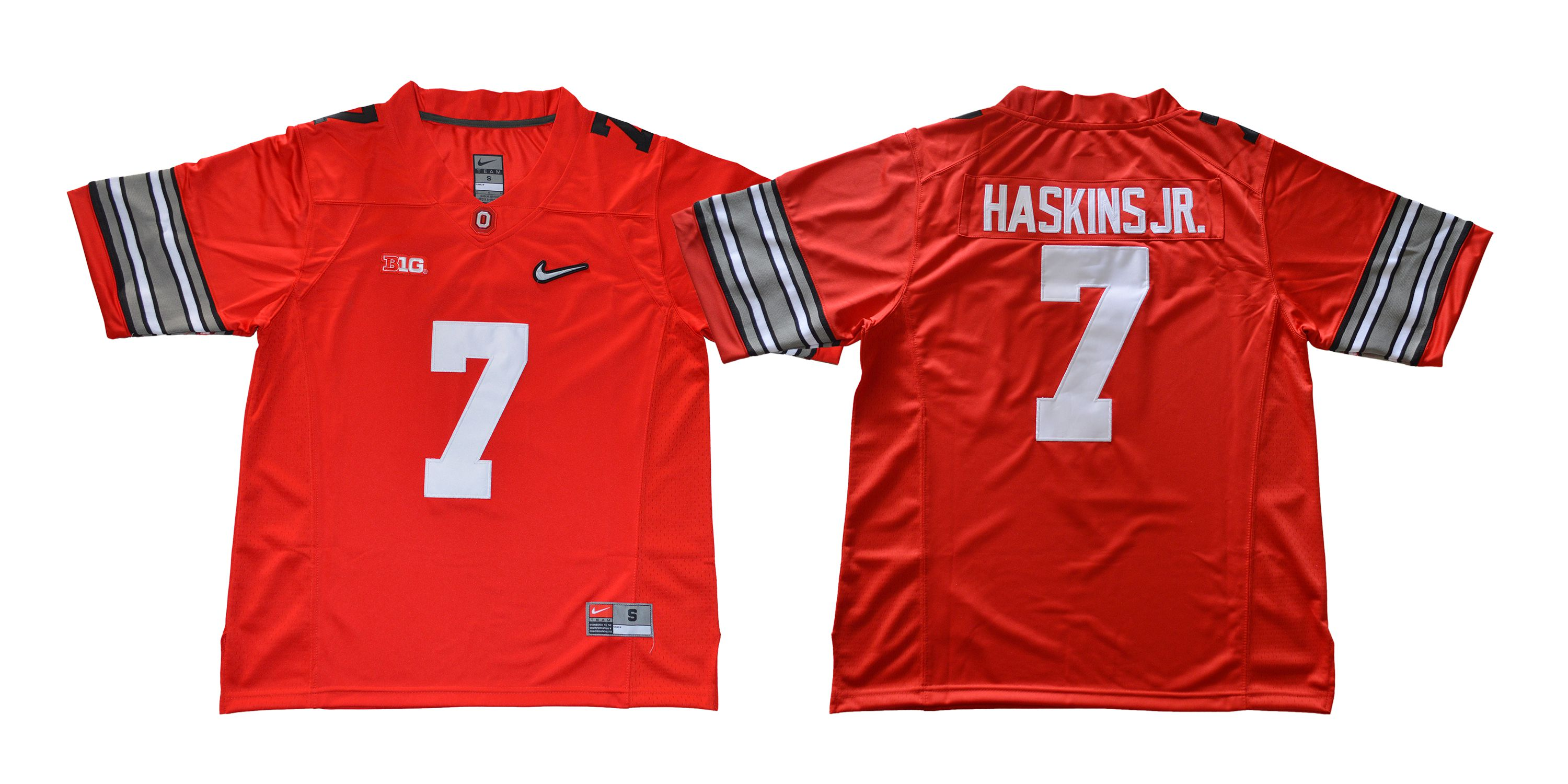 Men Ohio State Buckeyes 7 Haskins jr Diamond Red Nike NCAA Jerseys