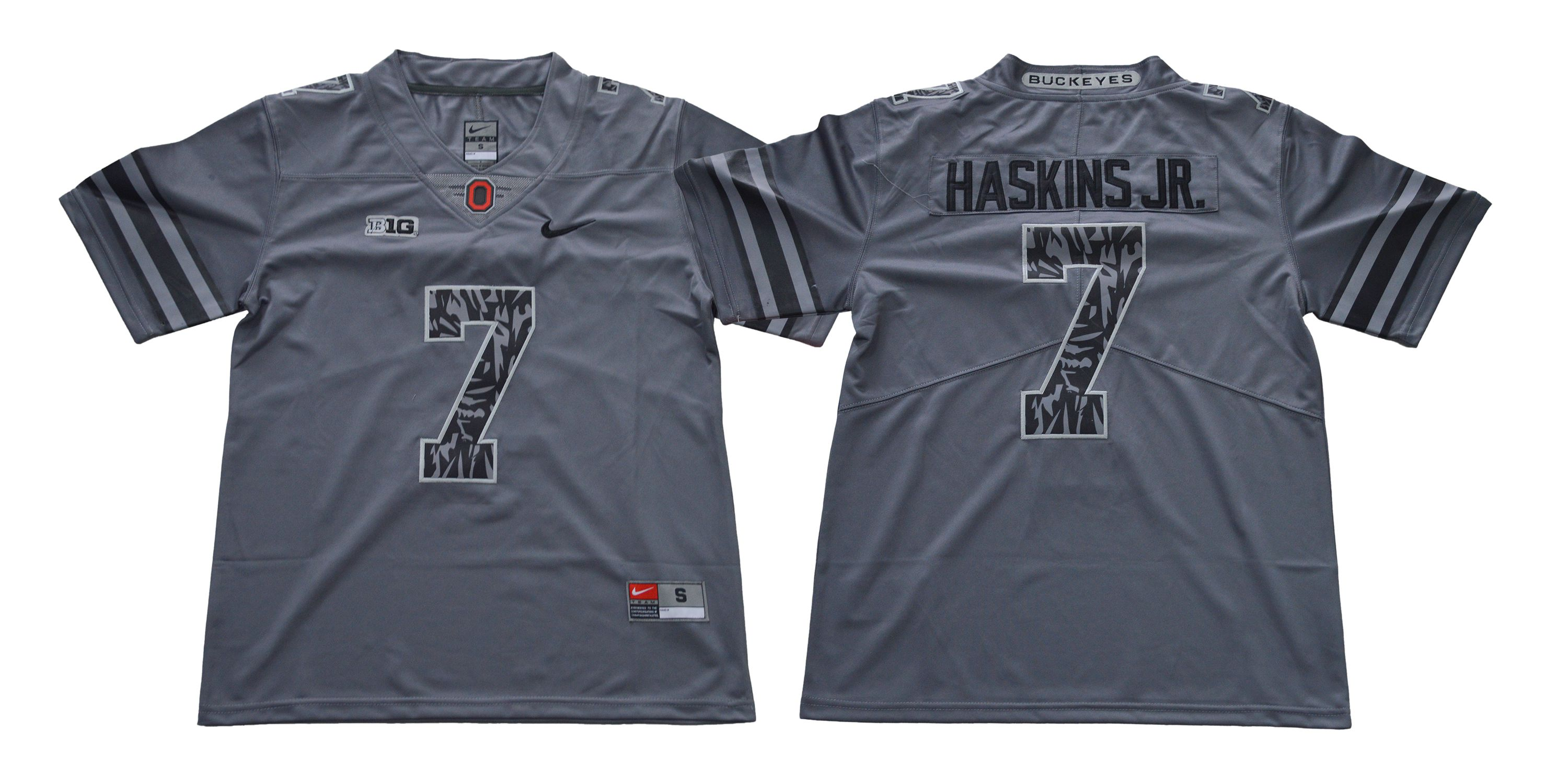 Men Ohio State Buckeyes 7 Haskins jr Grey Nike NCAA Jerseys