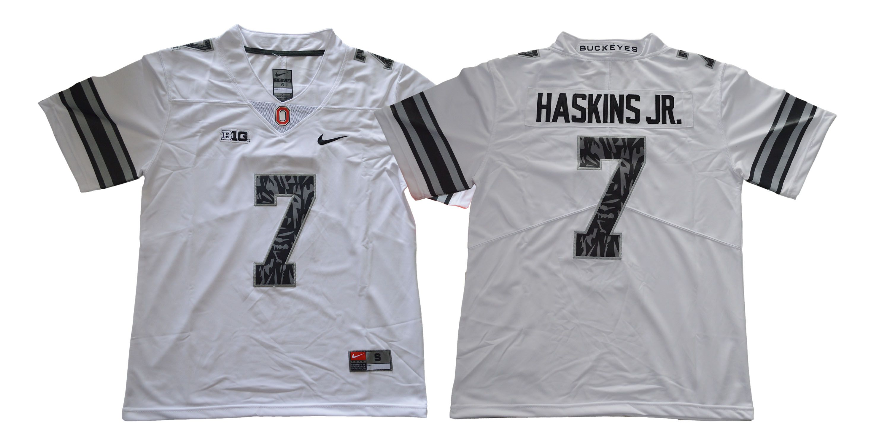 Men Ohio State Buckeyes 7 Haskins jr White pattern Nike NCAA Jerseys