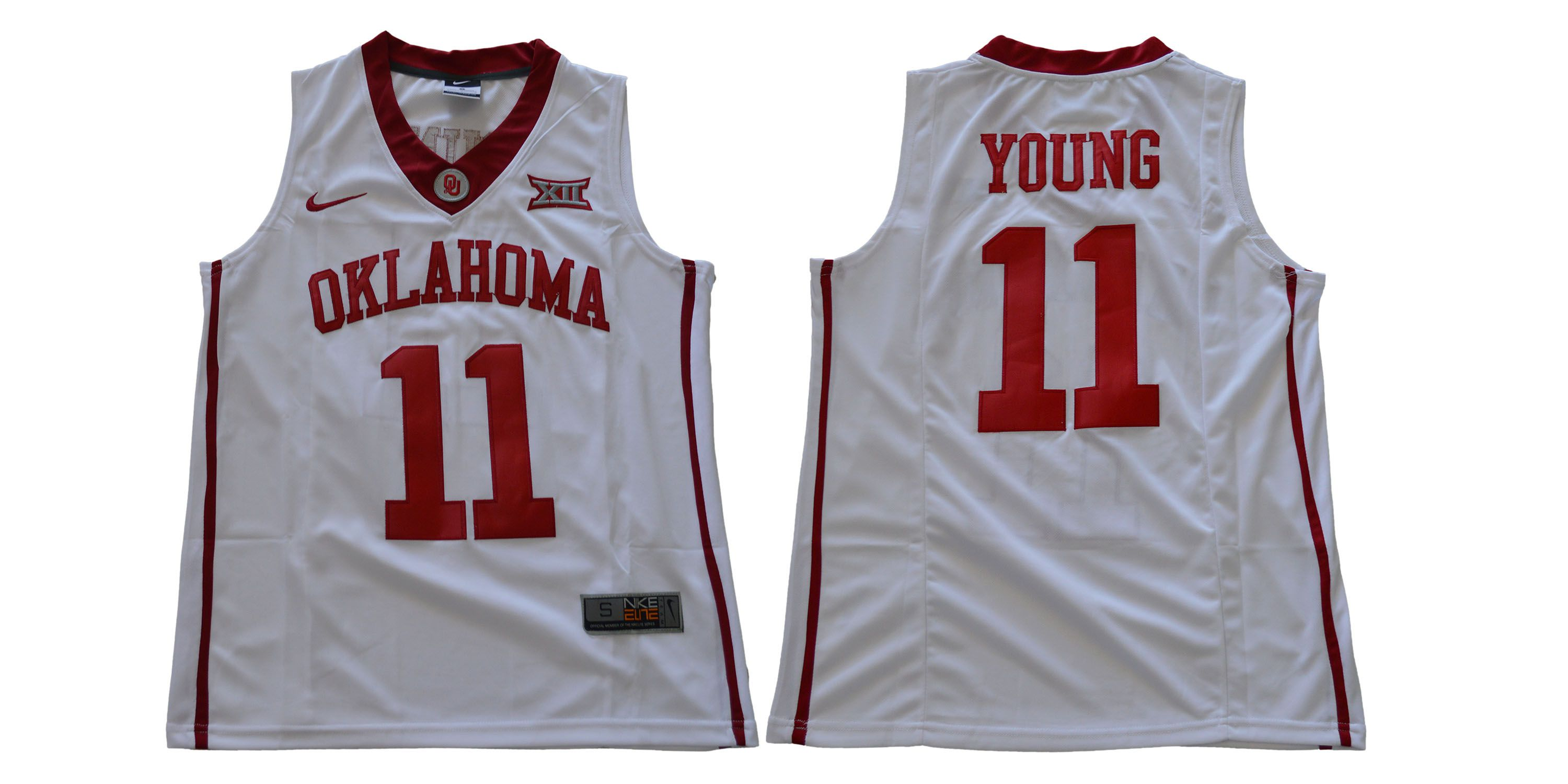 Men Oklahoma Sooners 11 Young White Nike NCAA Jerseys