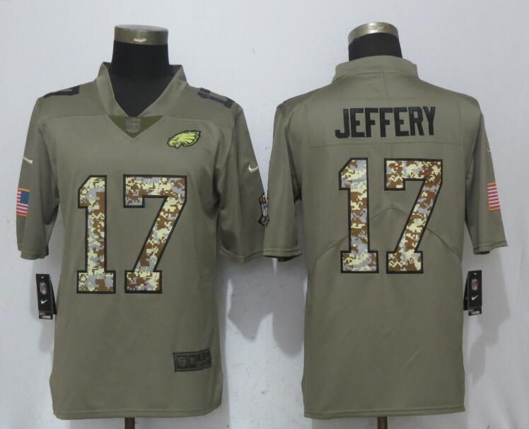 Men Philadelphia Eagles 17 Jeffery Olive Camo Carson Salute to Service Nike Limited NFL Jerseys