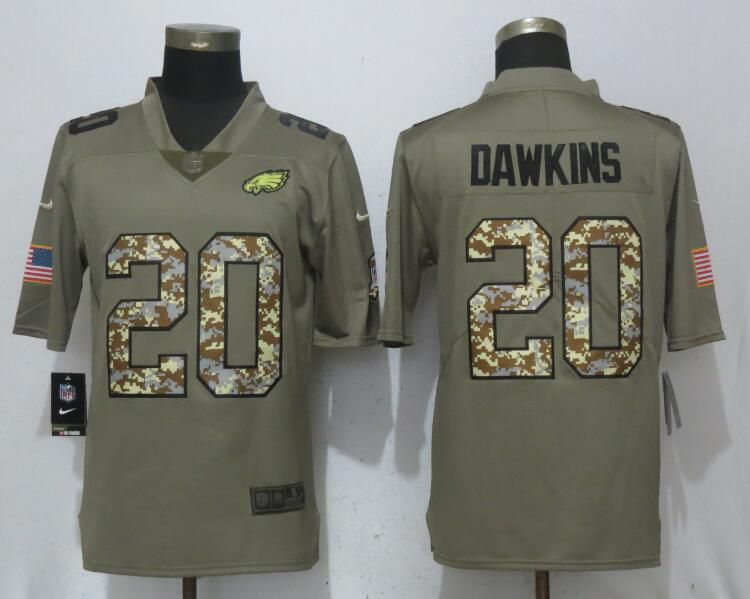 Men Philadelphia Eagles 20 Dawklns Olive Camo Carson Salute to Service Nike Limited NFL Jerseys