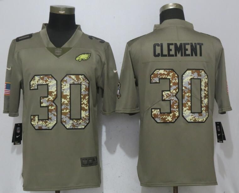 Men Philadelphia Eagles 30 Clement Olive Camo Carson Salute to Service Nike Limited NFL Jerseys