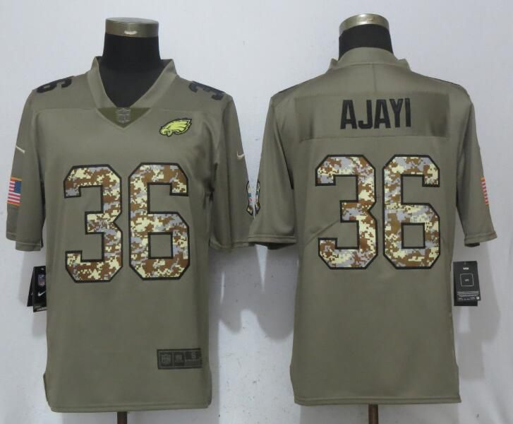 Men Philadelphia Eagles 36 Ajayi Olive Camo Carson Salute to Service Nike Limited NFL Jerseys