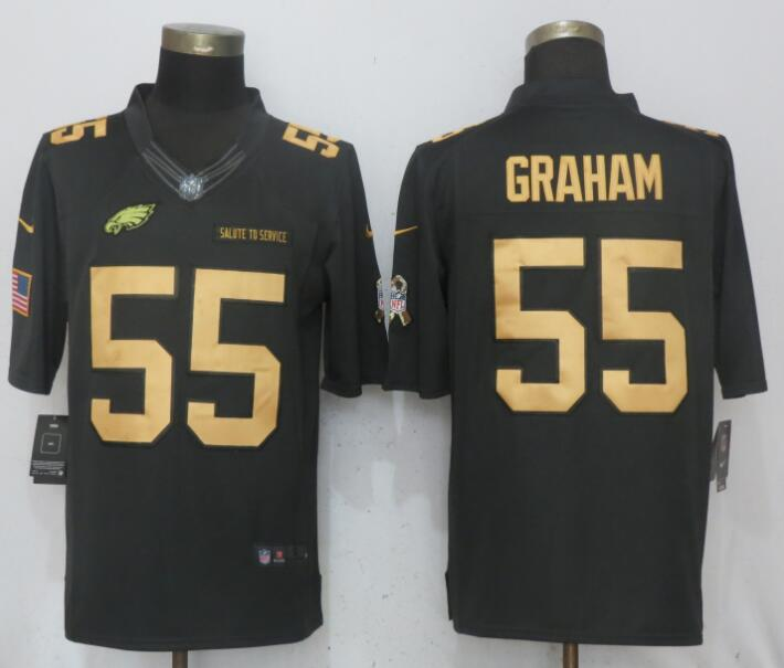 Men Philadelphia Eagles 55 Graham Gold Anthracite Salute To Service Nike Limited NFL Jerseys