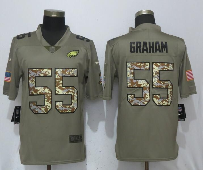 Men Philadelphia Eagles 55 Graham Olive Camo Carson Salute to Service Nike Limited NFL Jerseys