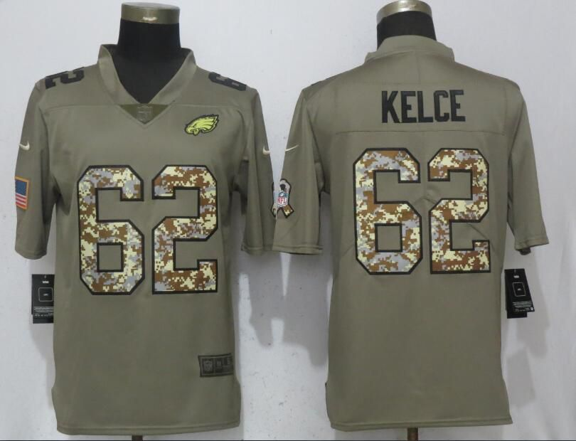 Men Philadelphia Eagles 62 Kelce Olive Camo Carson Salute to Service Nike Limited NFL Jerseys