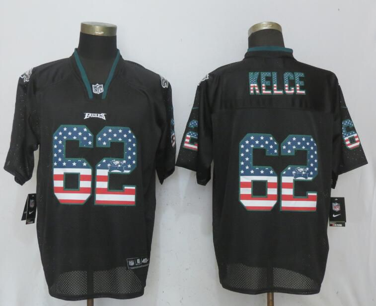 Men Philadelphia Eagles 62 Kelce USA Flag Fashion Black New Nike Elite NFL Jerseys