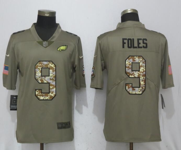 Men Philadelphia Eagles 9 Foles Olive Camo Carson Salute to Service Nike Limited NFL Jerseys