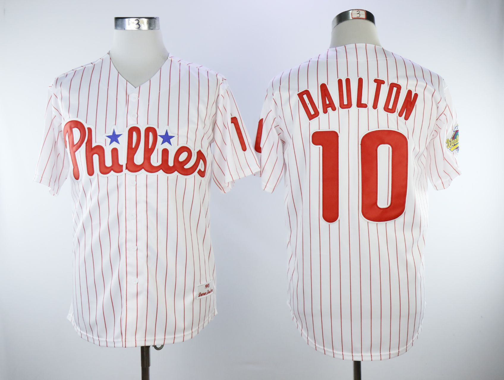 Men Philadelphia Phillies 10 Daulton White Throwback MLB Jerseys