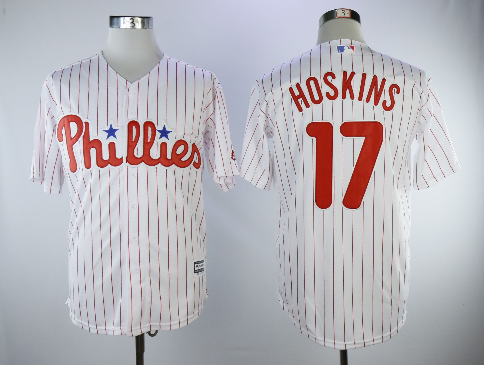 Men Philadelphia Phillies 17 Hoskins White Game MLB Jerseys