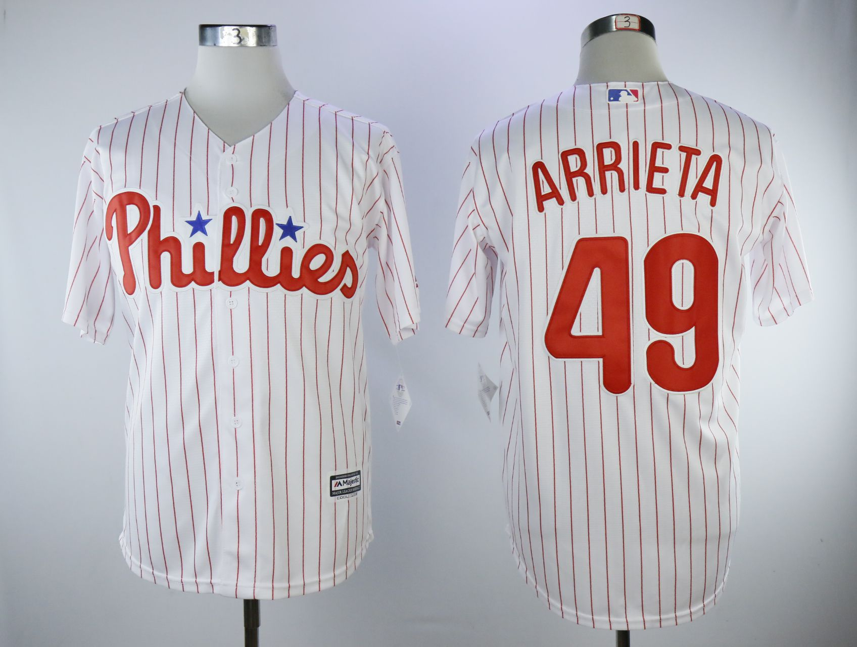 Men Philadelphia Phillies 49 Arrieta White Game MLB Jerseys