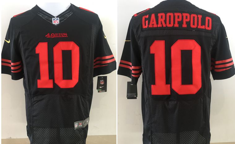 Men San Francisco 49ers 10 Garoppolo Black Nike Elite NFL Jerseys