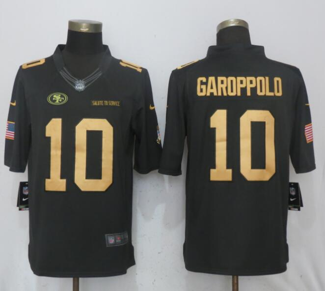 Men San Francisco 49ers 10 Garoppolo Gold Anthracite Salute To Service Nike Limited NFL Jerseys