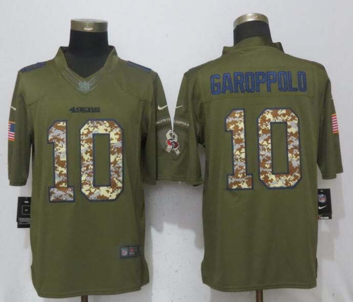 Men San Francisco 49ers 10 Garoppolo Green Salute To Service Nike Limited NFL Jerseys
