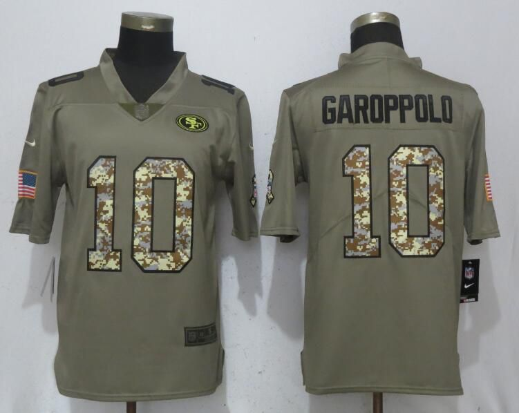 Men San Francisco 49ers 10 Garoppolo Olive Camo Carson Salute to Service Nike Limited NFL Jerseys