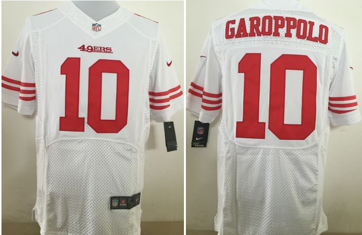 Men San Francisco 49ers 10 Garoppolo White Nike Elite NFL Jerseys