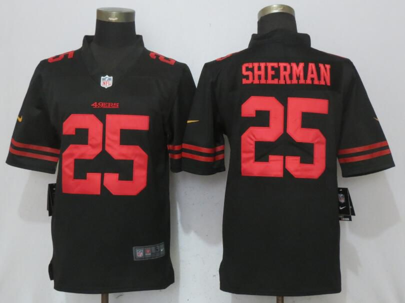 Men San Francisco 49ers 25 Sherman Black Vapor Untouchable New Nike Limited NFL Jerseys