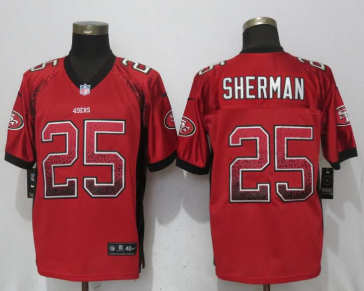 Men San Francisco 49ers 25 Sherman Drift Fashion Red Elite New Nike NFL Jerseys
