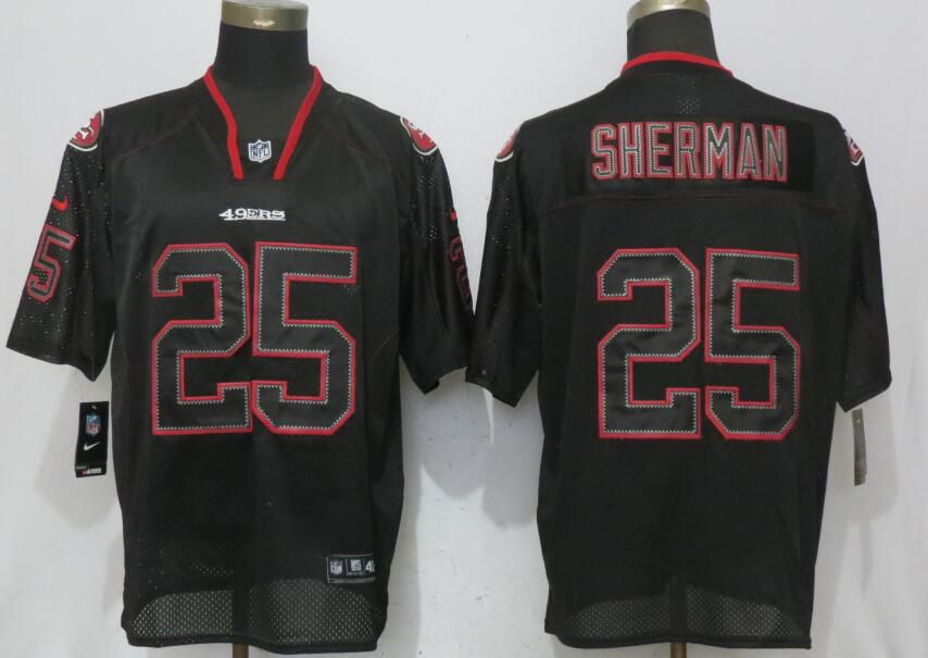Men San Francisco 49ers 25 Sherman Lights Out Black Elite New Nike NFL Jerseys