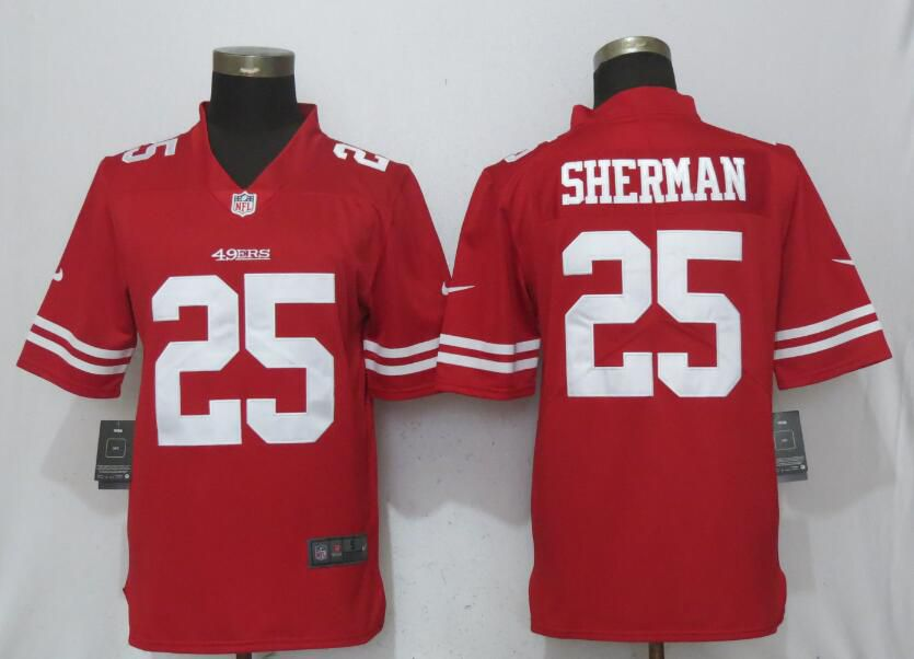 Men San Francisco 49ers 25 Sherman Red Vapor Untouchable New Nike Limited NFL Jerseys