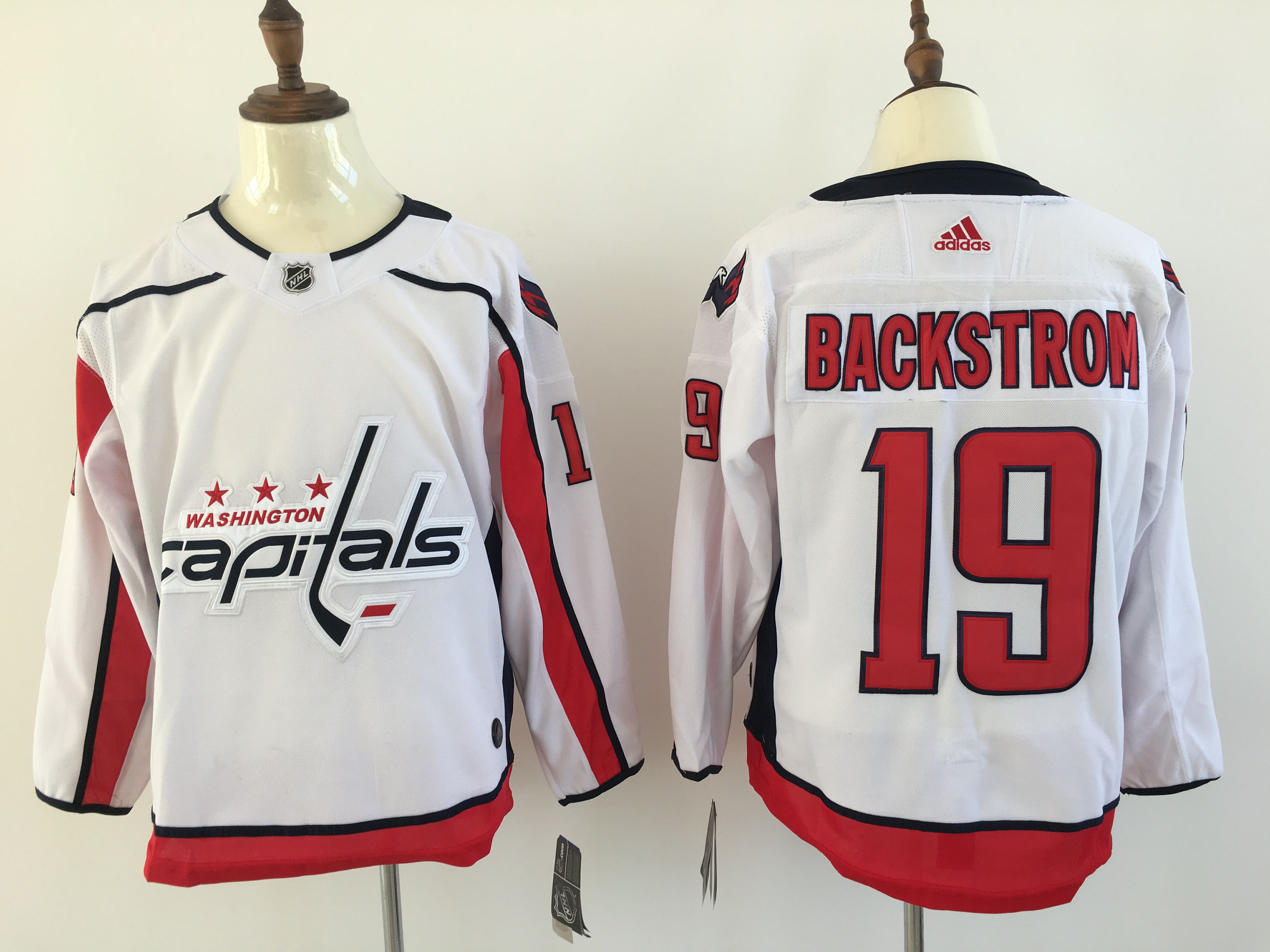 Men Washington Capitals 19 Backstrom White Adidas Hockey Stitched NHL Jerseys