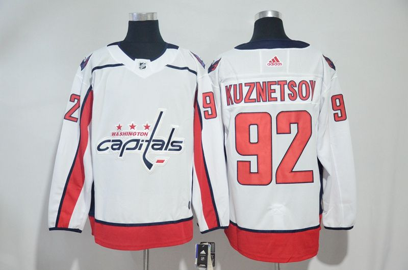 Men Washington Capitals 92 Kuznetsov White Adidas Hockey Stitched NHL Jerseys