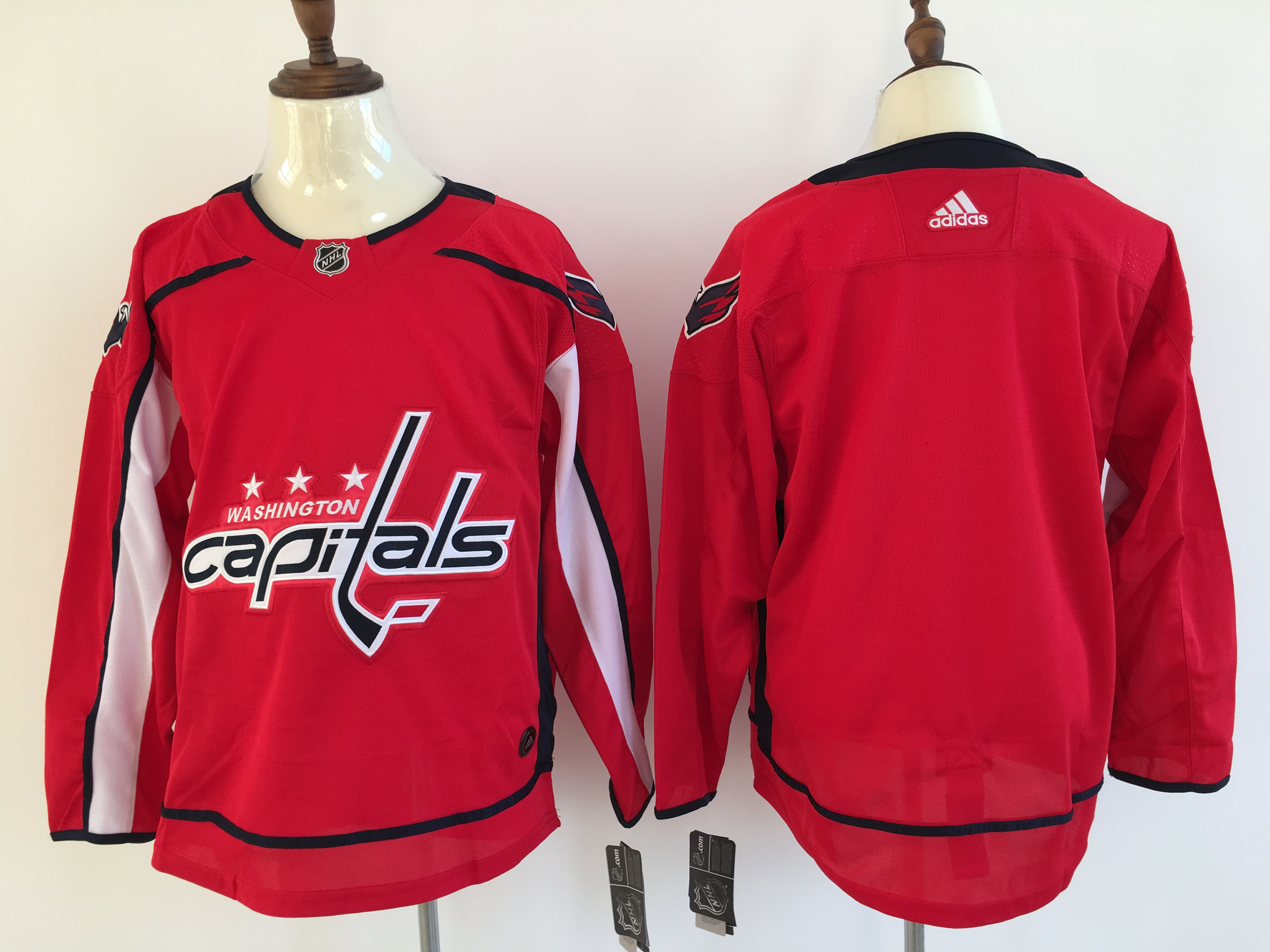 Men Washington Capitals Blank Red Adidas Hockey Stitched NHL Jerseys