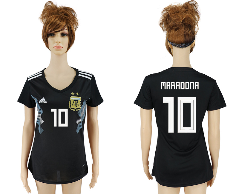 Women 2018 World Cup Argentina away aaa version 10 black soccer jersey