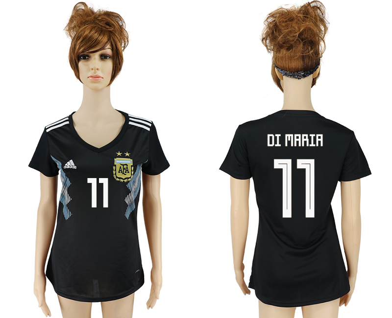 Women 2018 World Cup Argentina away aaa version 11 black soccer jersey