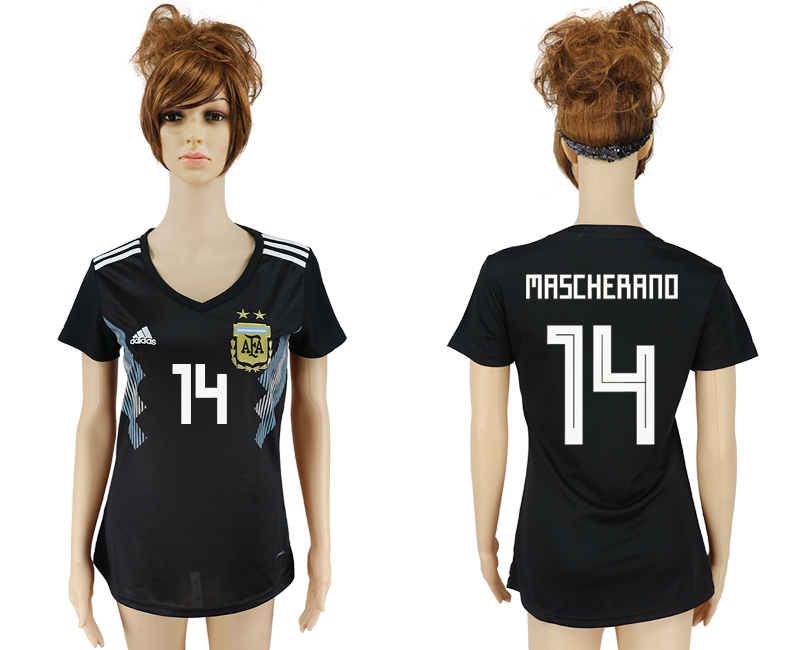 Women 2018 World Cup Argentina away aaa version 14 black soccer jersey