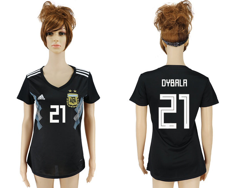 Women 2018 World Cup Argentina away aaa version 21 black soccer jersey