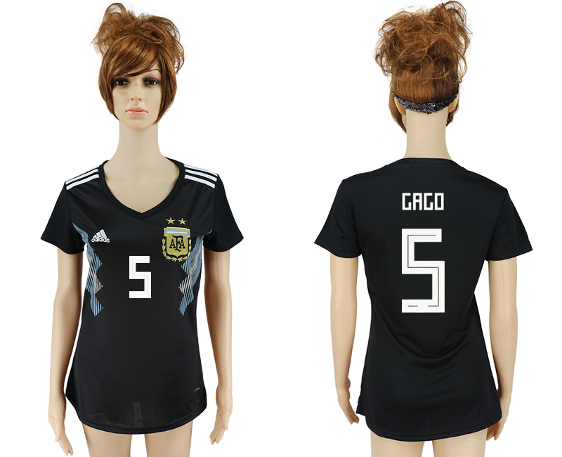Women 2018 World Cup Argentina away aaa version 5 black soccer jersey