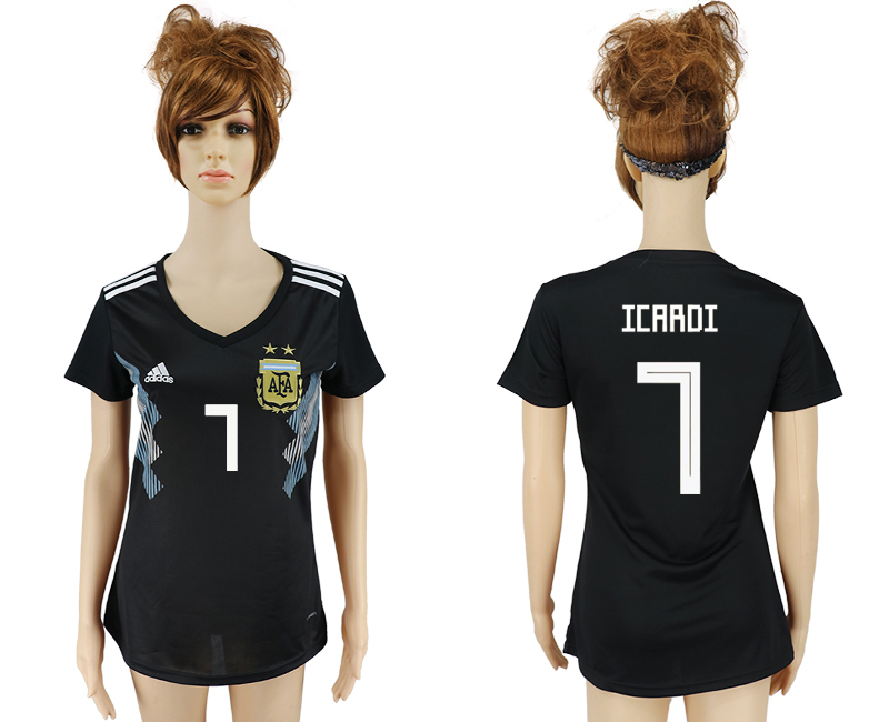 Women 2018 World Cup Argentina away aaa version 7 black soccer jersey
