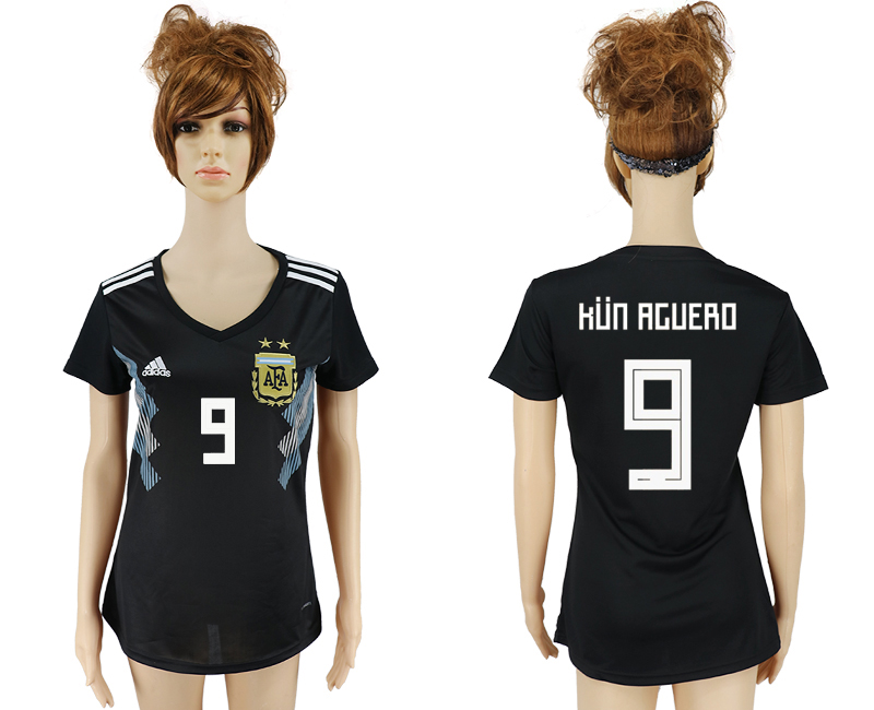 Women 2018 World Cup Argentina away aaa version 9 black soccer jersey