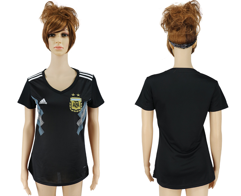 Women 2018 World Cup Argentina away aaa version black soccer jersey