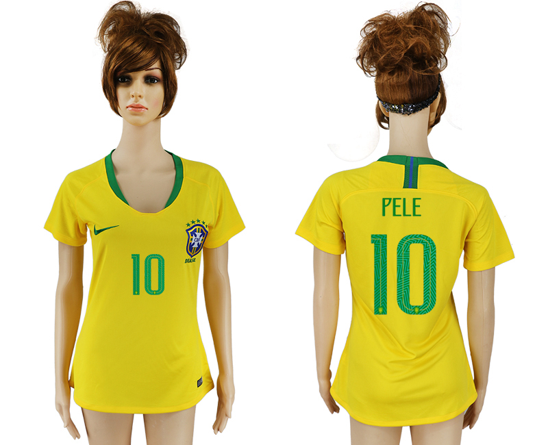 Women 2018 World Cup Brazil home aaa 10 yellow soccer jersey