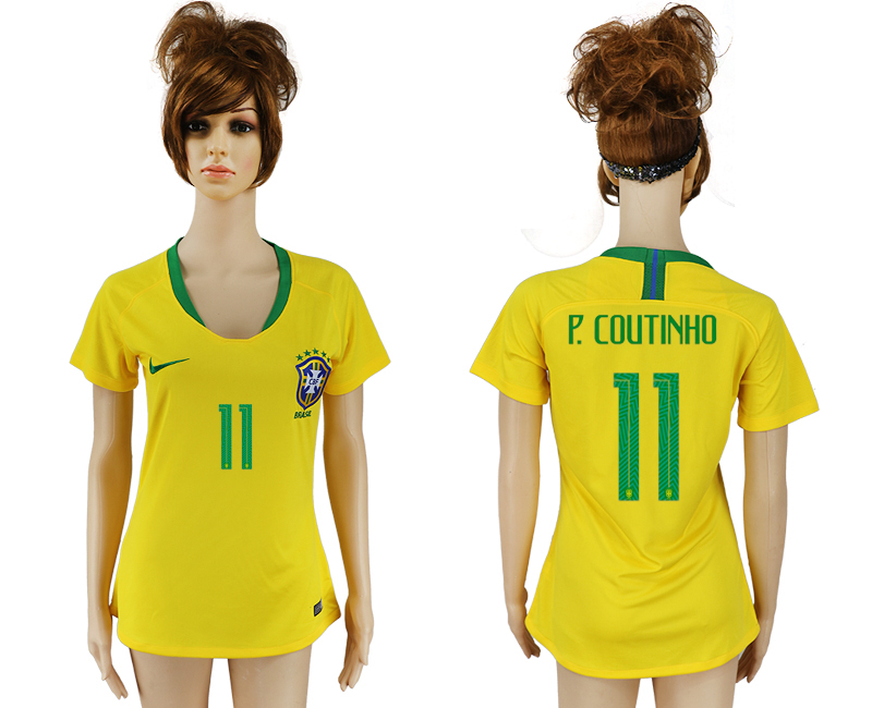 Women 2018 World Cup Brazil home aaa 11 yellow soccer jersey