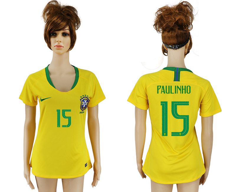 Women 2018 World Cup Brazil home aaa 15 yellow soccer jersey