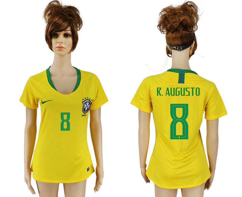 Women 2018 World Cup Brazil home aaa 8 yellow soccer jersey