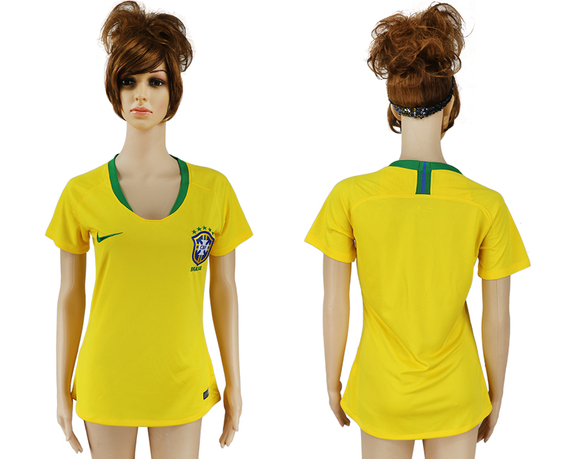 Women 2018 World Cup Brazil home aaa yellow soccer jersey