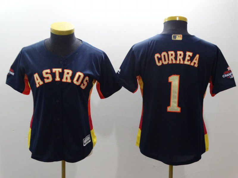 Women Houston Astros 1 Correa Blue Champion Edition MLB Jerseys