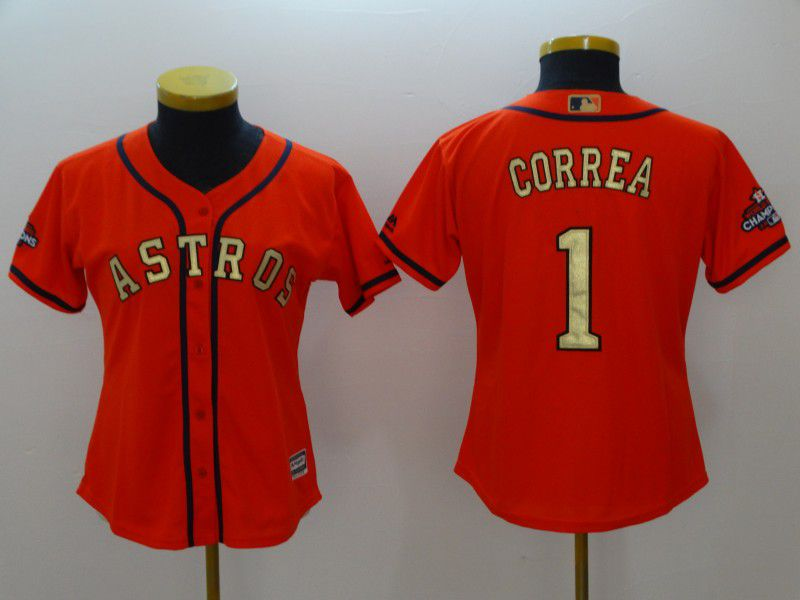 Women Houston Astros 1 Correa Orange Champion Edition MLB Jerseys