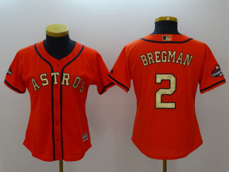 Women Houston Astros 2 Bregman Orange Champion Edition MLB Jerseys